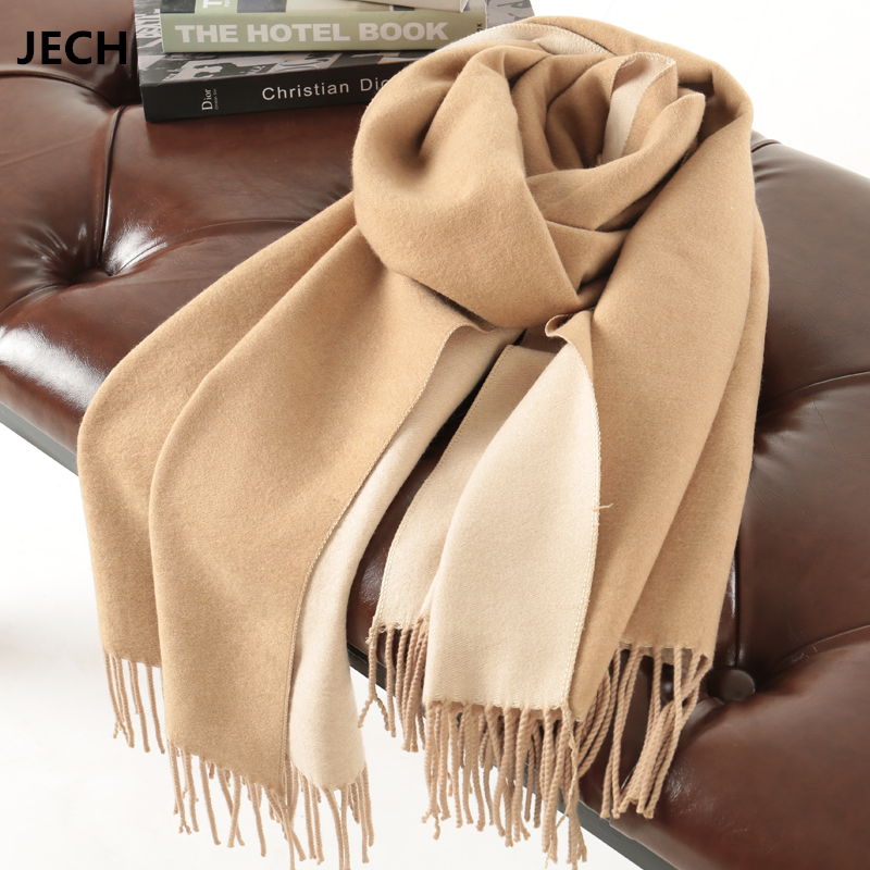 JECH Pashmina Solid Scarf Cashmere Wool Hot Sale Double Color Shawl Winter Warm Women's Scarves Long Blanket High Quality Female