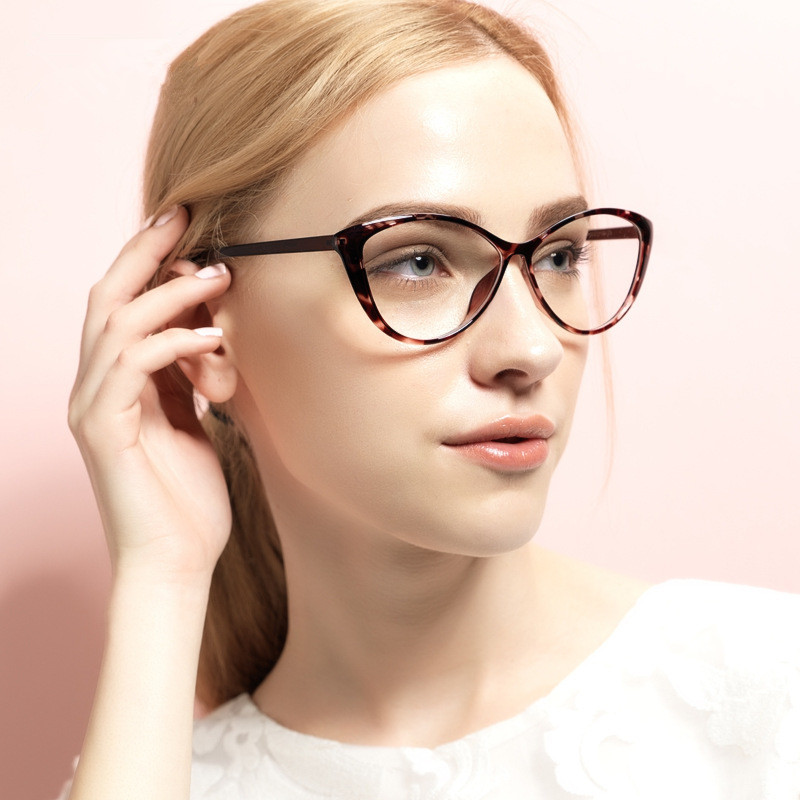 BOYEDA Fashion TR90 Cat Eye Glasses Women Optica Spectacle Frame Female Clear Computer Vintage Eyeglasses Frame Retro Eyewear
