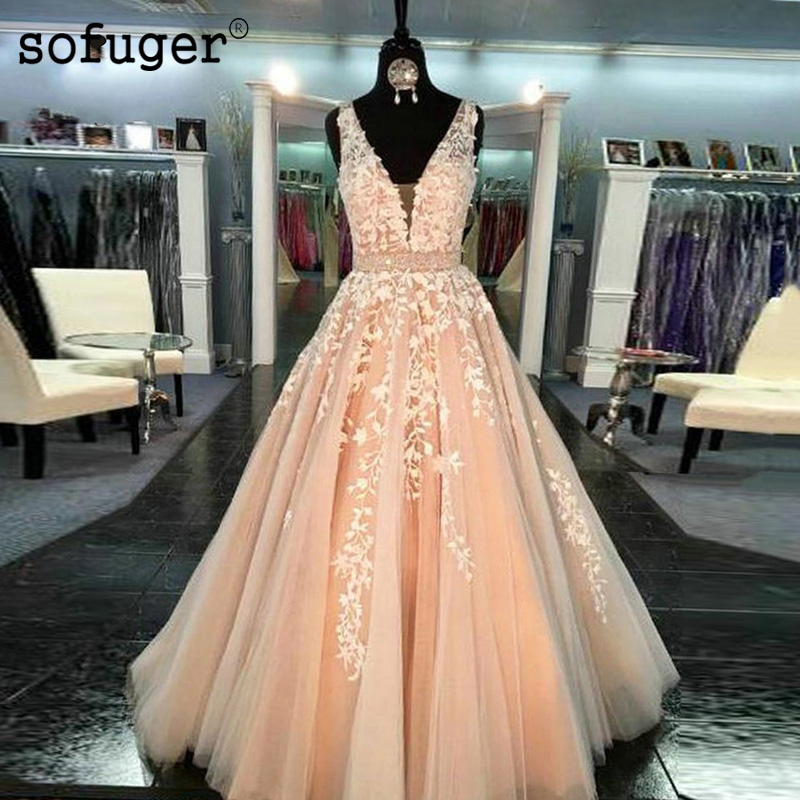 Robe de mariée 2019 avec Appliques délicates grande taille perlée col en v Sexy une ligne sur mesure longueur de balayage