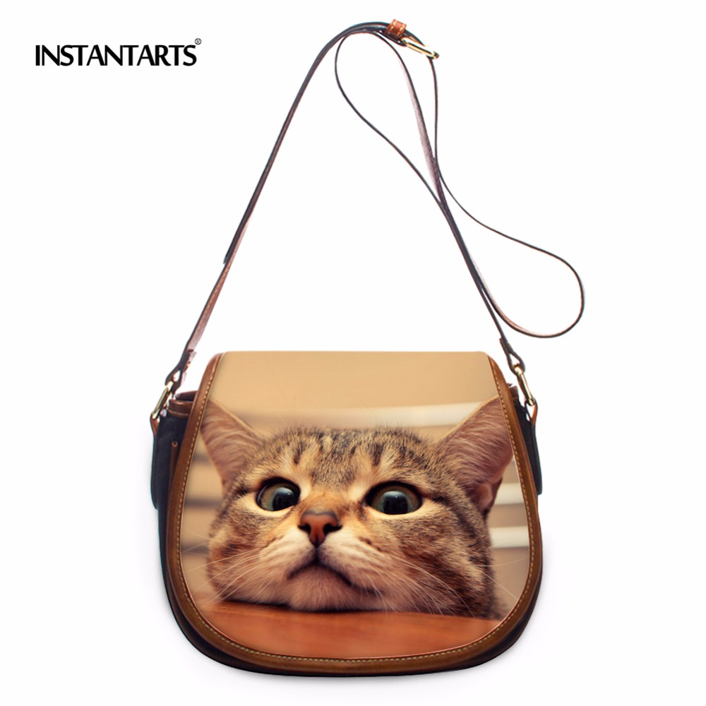 INSTANTARTS 2017 Women Shoulder Bags Crossbody Flap Bag for Women Handbag PU Leather Cute Animal Cat Ladies Brand Messenger Bag feral cat ladies hand bags pvc crossbody bags for women single trapeze shoulder bag dames tassen handbag bolso mujer handtassen