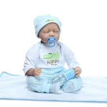 50-55 CM NPK Dolls Real Looking Silicone Reborn Baby Boy Dolls With Baby Clothes Close Eyes Lifelike Newborn Baby Dolls For Sale