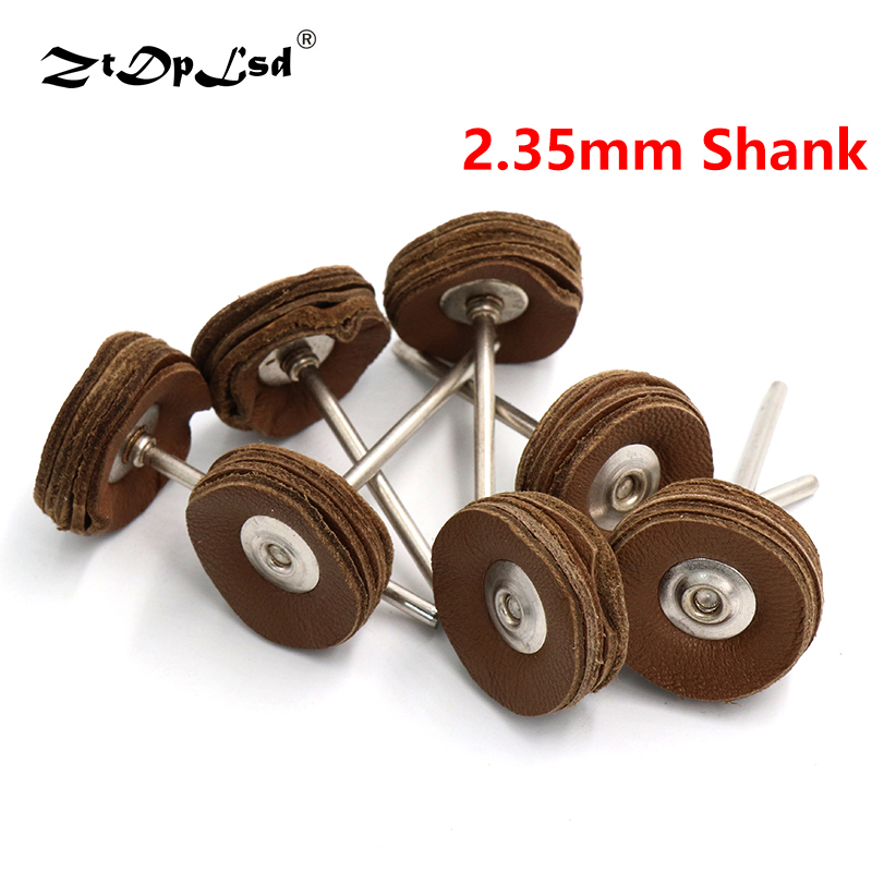 2.35MM Shank Cowhide Leather Grinding Heads Mill Amber Bright Mirror Polish Pad Wheel Disk Jade Carving Drill Rotary Polishing