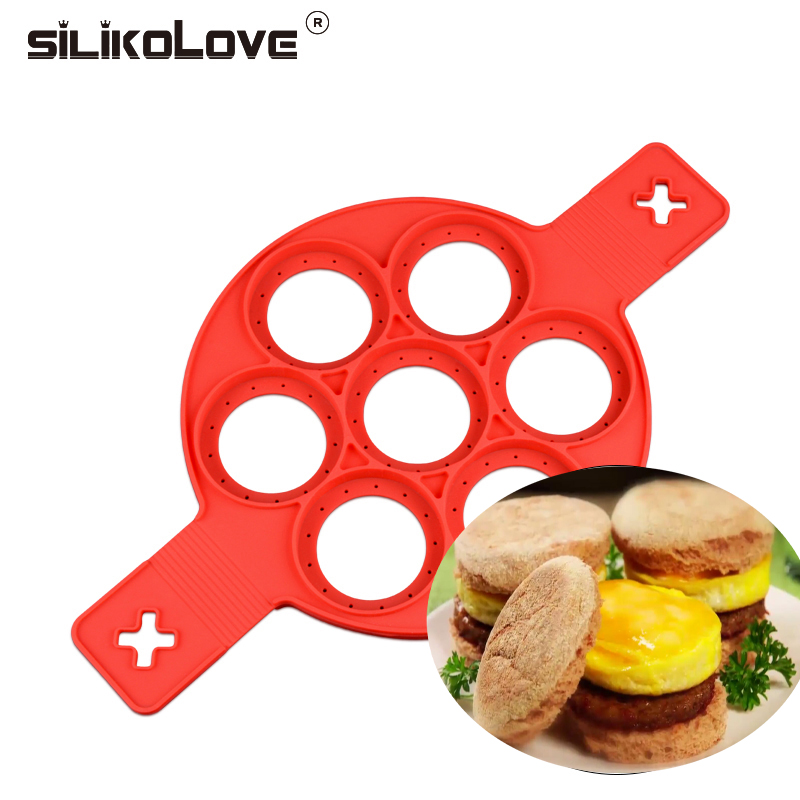 SILIKOLOVE 7 и 4 отверстия блина формы высокое качество силиконовые яичные кольца формы кухонные приспособления для яиц