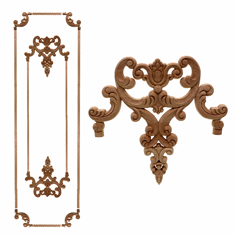 VZLX Vintage Unpainted Wood Carved Corner Onlay Applique Frame For Home Furniture Wall Cabinet Door Decor