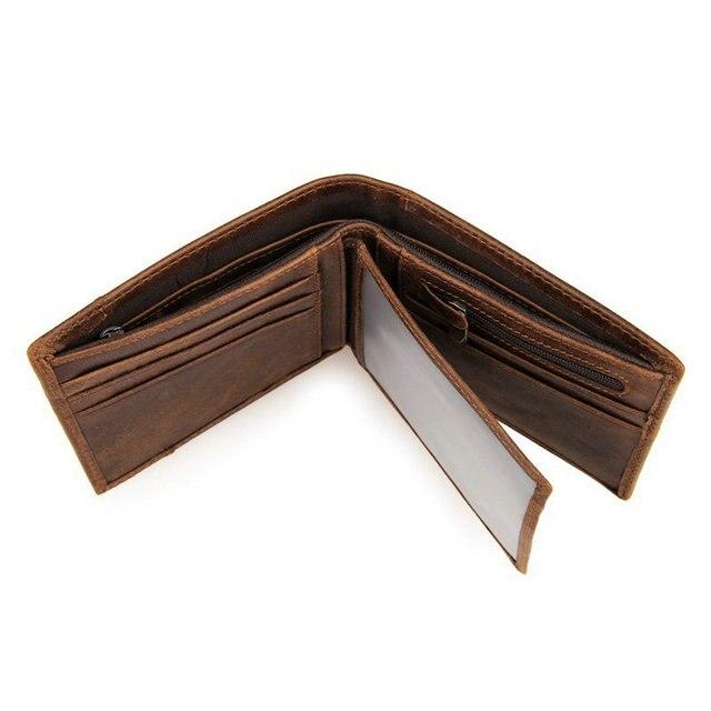 GENODERN Patchwork Style Cow Leather Male Purse Short Wallet for Men Genuine Leather Wallets Brown Male Purses Men Wallets 5