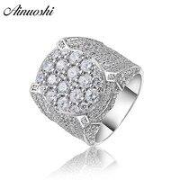 AINOUSHI 925 пробы серебро Для мужчин свадебные Обручение кольца мужской серебряный Юбилей кольца вечерние украшения anillos де Плата hombre