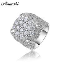 AINOUSHI 925 стерлингового серебра мужские обручальные кольца мужские серебряные юбилейные Праздничная бижутерия с кольцами anillos de plata hombre