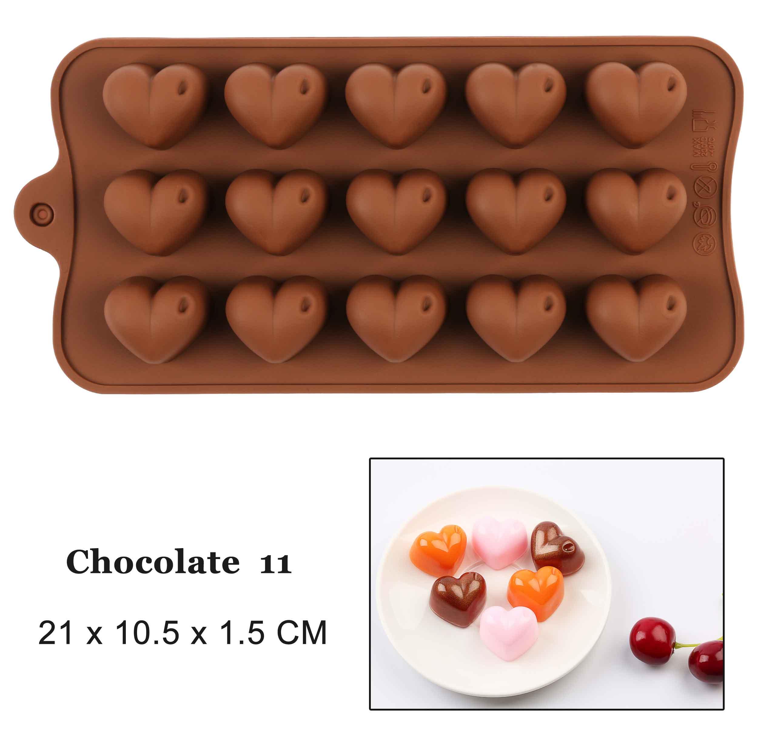 Silicona Mini 55 Corazón Pastel de chocolate para hornear galletas Molde Molde Gelatina Bandeja de Horno