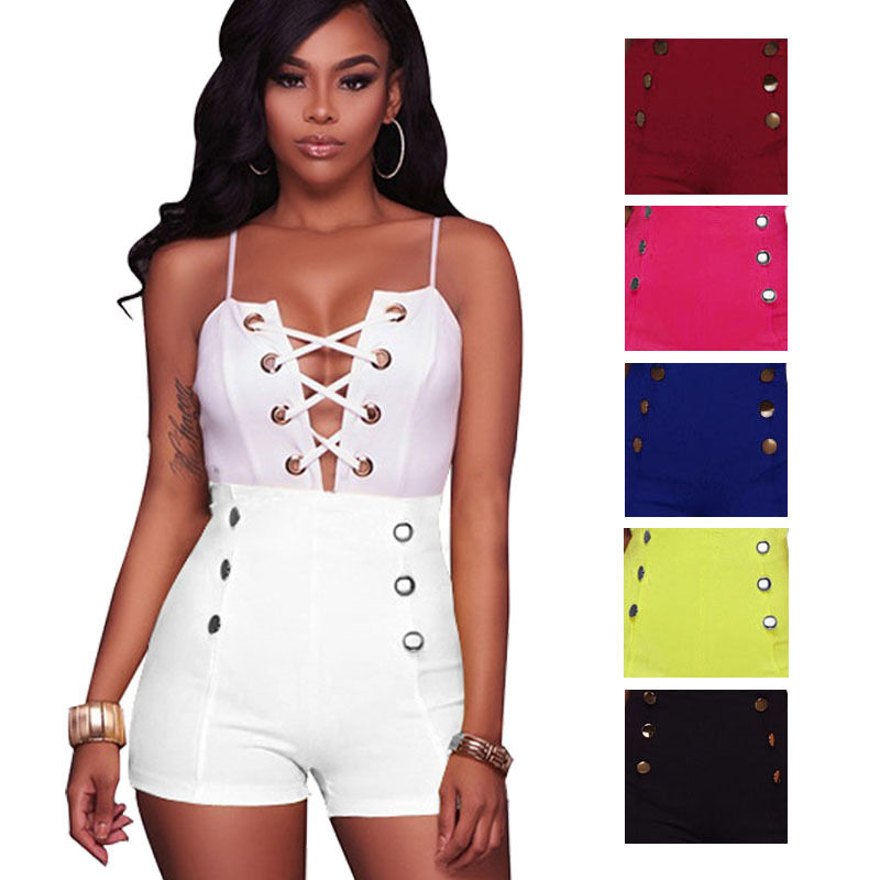 New Hot Sexy Fashion Women Skinny New Double Breasted Lace Up Front High Waist Shorts Hot Vintage 6-16