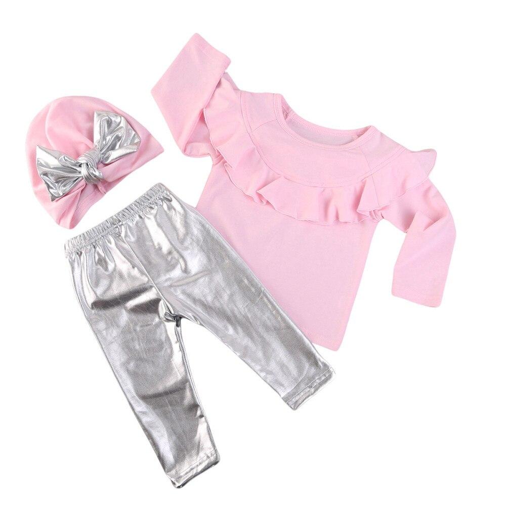 3Pcs set pink Newborn Infant Baby Girls Clothing Sets Long sleeve T shirt+pant+hat fashion Baby Sets Girl Clothes