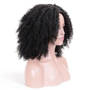 Image 2 - MSIWIGS peluca sintética corta rizada para mujer, pelo marrón Natural Afro, africano, americano, de fibra de alta temperatura, negro