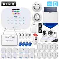 KERUIl охранной сигнализации Главная GSM Системы с 2,4 дюймов TFT Экран мини детектор движения двери Сенсор CO детектор дыма siren