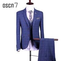 OSCN7 Royal Blue Plaid Suit Men Slim Fit Custom Made Business Formal Wedding Suits For Men 3pcs Terno Masculino Costume Homme