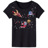 2018 Fashion Brand Short Sleeve T Shirts Plus Size Female T Shirts Sequined Beaded Space Robot