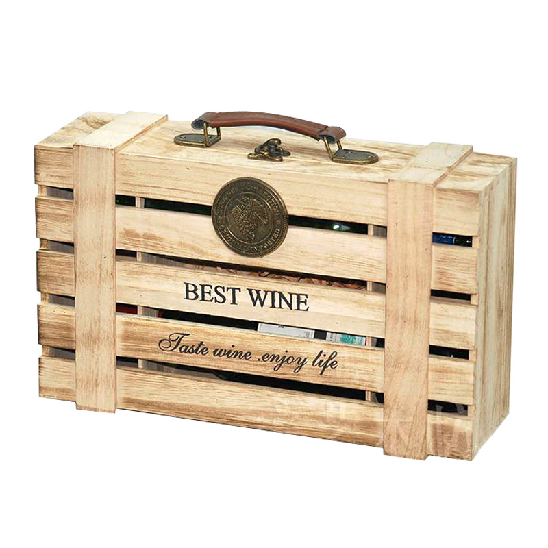 de alta calidad caja de regalo del vino caja de madera de color tostado doble paquete