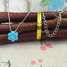 1pc 10mm Free Shipping Synthetic light blue Opal 6C Flower with cz opal pendant necklace 925 Silver chain for wedding Dresses