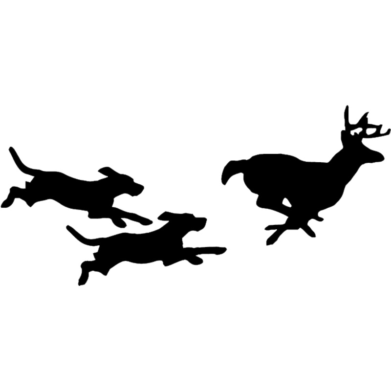 25.4*11.7CM Hunting Dogs Chasing Deer Vinyl Decal Creative Car Stickers Car Styling Truck Accessories Black/Silver S1-1122