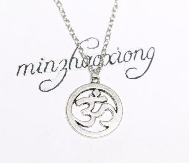 Silver Aum Ohm Om Necklace Chain Hindu Symbol Pendant Charm