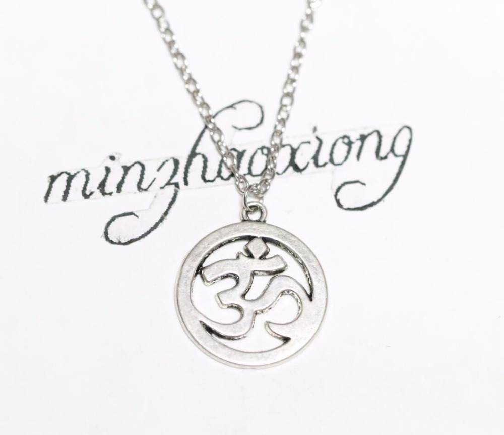 Silver Aum Ohm Om Necklace Chain Hindu Symbol Pendant Charm Meditation Jewelry
