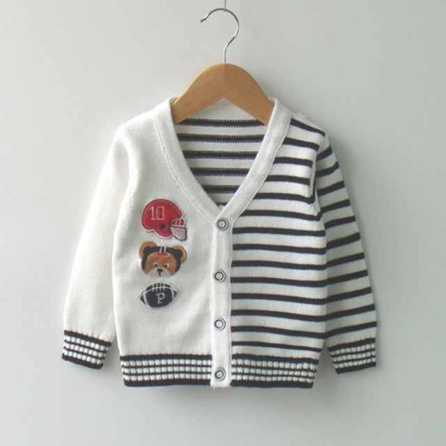 c1bb2fb32c84 12M to 3T baby   little boys striped cartoon bear V neck knitted ...