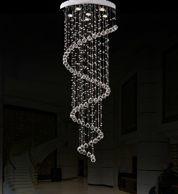 save off dac2c 24b88 US $135.15 49% OFF|Modern simple style led crystal long chandelier villa  double staircase lights rotating living room hotel big hanging lights-in ...
