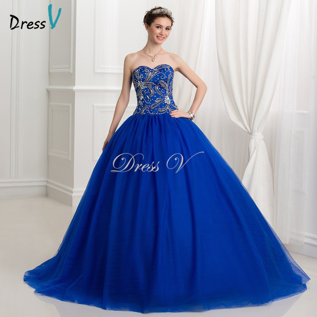 Royal Blue Ball Gown Puffy Quinceanera Dresses 2017 Beaded Princess ...