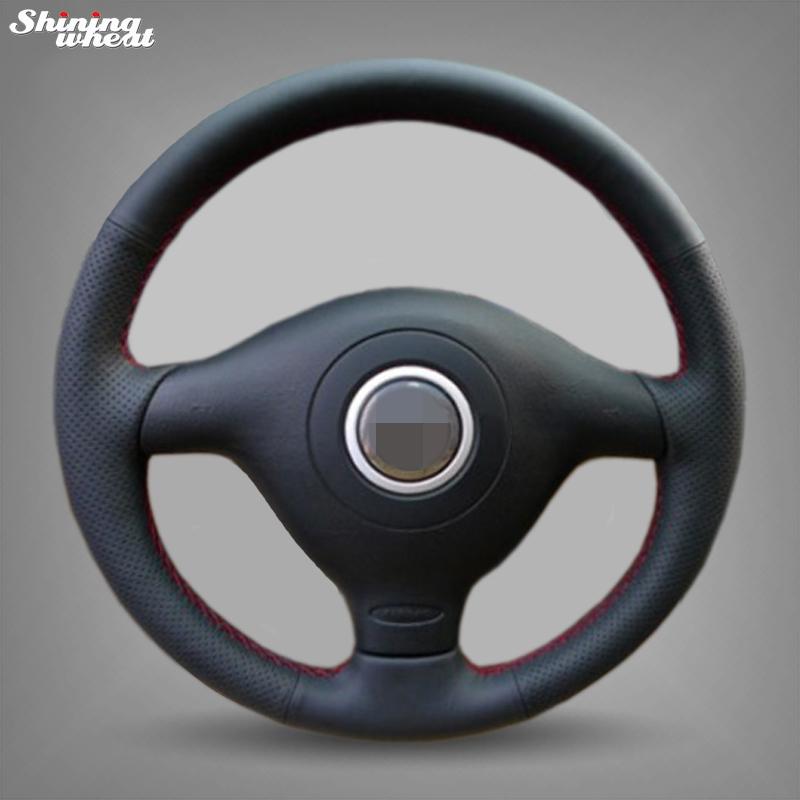 Prix pour Brillant blé cousu Main Noir En Cuir Couverture De Volant de Voiture pour Volkswagen VW Golf 4 Mk4 Vieux VW Passat B5