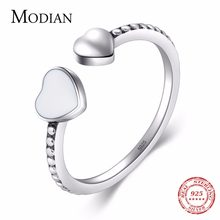 Instagram Style 925 Sterling Silver Double Hearts Ring For Love Finger enamel Rings adjustable for Women Engagement Jewelry(China)
