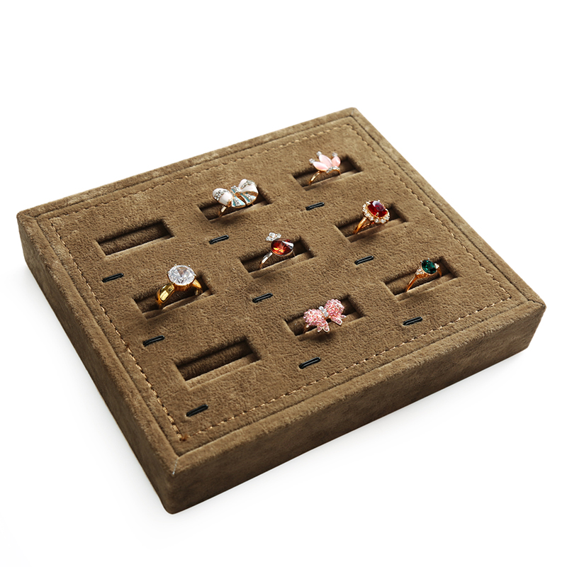 New 9 Holes Brown Fabric Finger Ring Storage For Women Earrings Ear Stud Display Tray Organizer Jewelry Box Jewelry Display