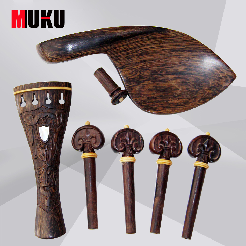 Violin accessories 4/4 horns wood, gorgeous patterns carved polished high grade Set for sale