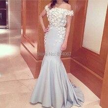 Vestidos Longos Para Festa Sexy Schulterfrei mit Blumen Lange Meerjungfrau Abendkleider Dubai Arabisch Prom Kleider 2017 Günstige Kleid
