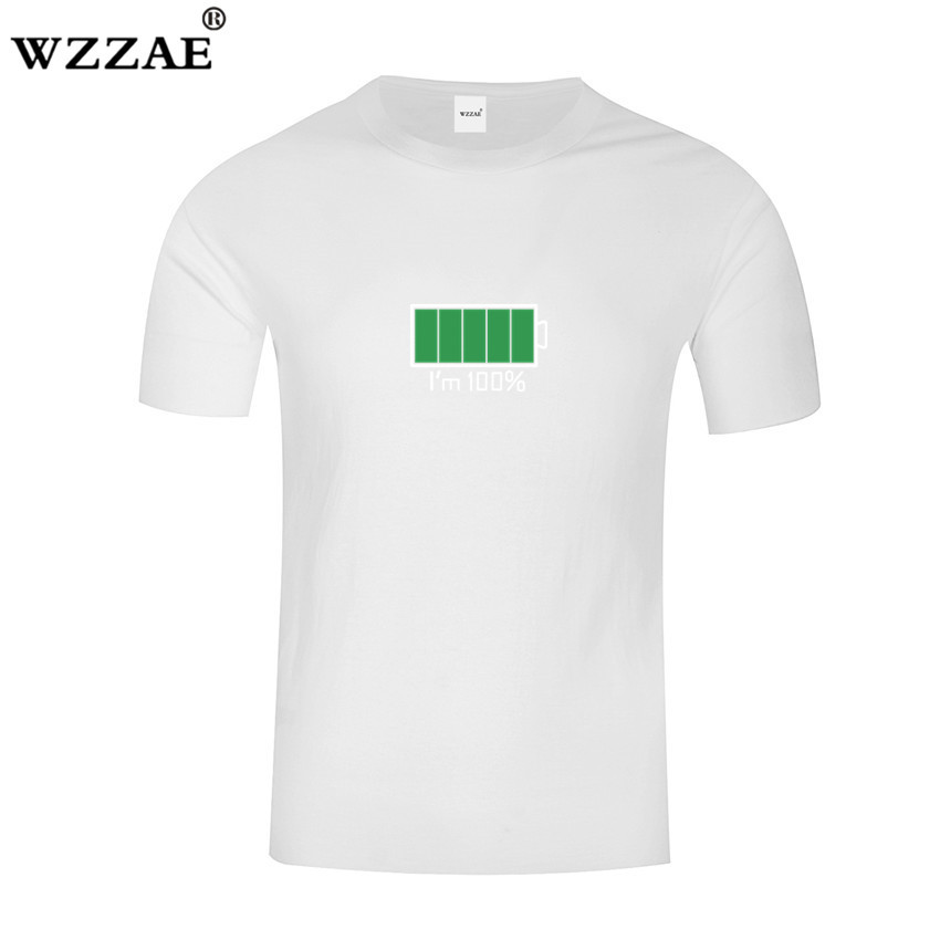 WZZAE 2018 Full Battery Android Creative Men T-shirts Energy Cotton Tee shirt Homme Classic Blouse Fitness Clothes Men's T shirt 4