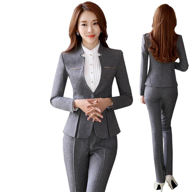 2019 Hot Sale Womens formal suits Female Uniform Elegant Business Pants Suits Women Workwear Office Suits Blazers 59