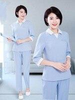 New cosmetologist work clothes, mid sleeve uniform suit for Korean hospital, nurse suit, spa technician suit