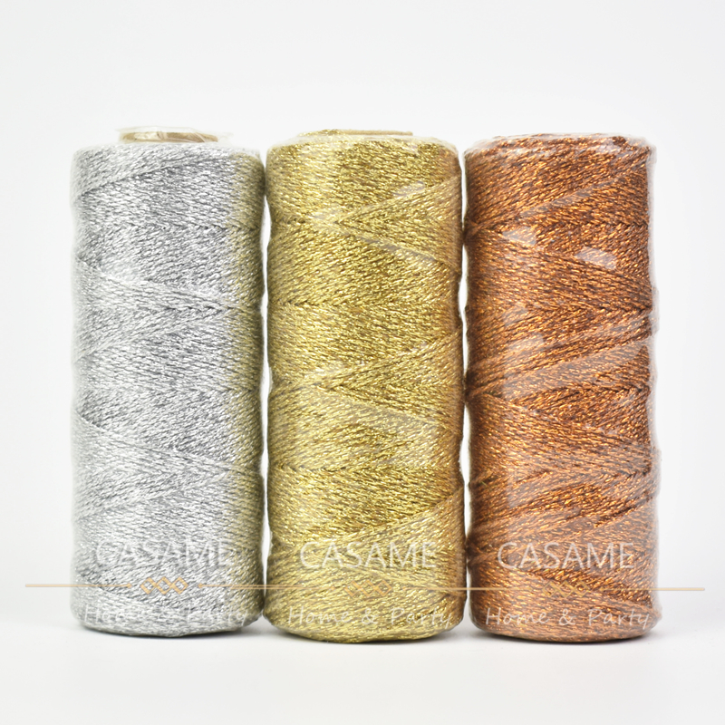 1 pçs 12ply 110 quintal folha de ouro metálico padeiros fio ouro prata sparkly glitter string casamento padeiro twine wrap apresenta
