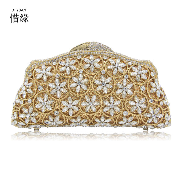 XIYUAN BRAND women luxury gold Crown day clutches high quality new arrival silver clutch evening bags for party wedding bride 03 red gold bride wedding hair tiaras ancient chinese empress hat bride hair piece