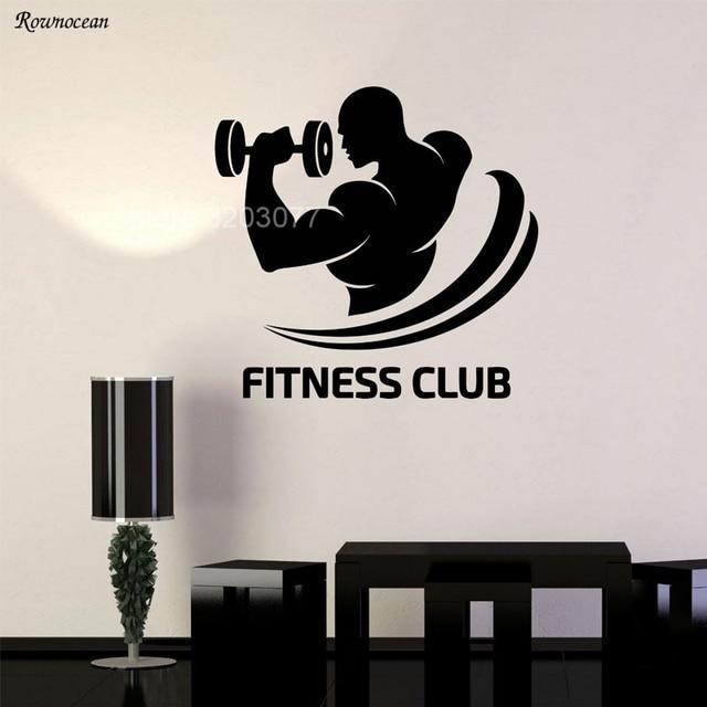 Fitness club logo gym bodybuilding sports decor vinyl wall stickers