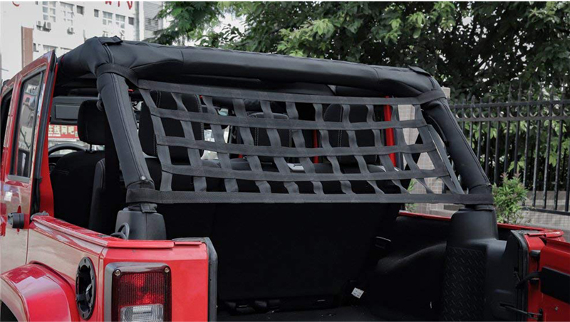 Heavy Duty Cargo Net Car Top Roof Hammock Bed Rest Storage Network Cover For Jeep Wrangler JK 2007 Up Exterior Accessories Cover (4)
