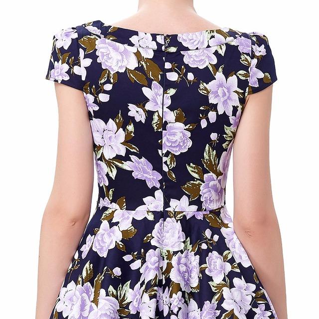 Women dress vestidos print hollowed short sleeve cotton retro vintage party dresses 2016 plus size women 50s rockabilly dresses