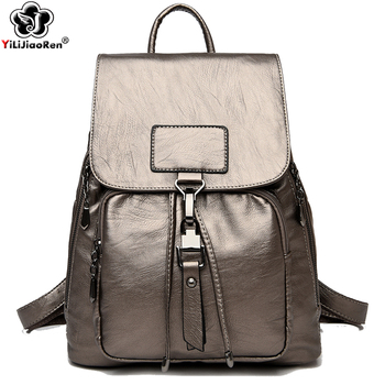 Soft Leather Backpack Women Fashion Anti Theft Backpack Women Large Capacity School Bag for Teenage Girls Sac A Dos Back Pack women backpack female high quality leather multi pocket school bags for teenage girls sac a dos travel back pack rucksacks