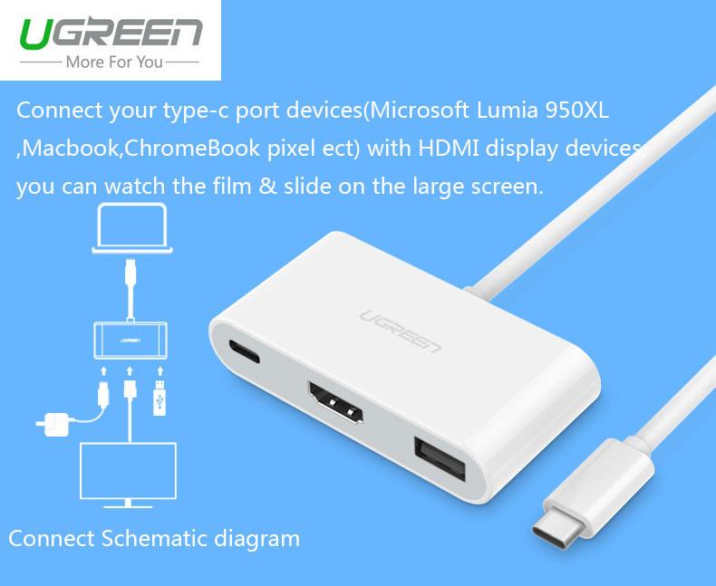 Cáp chuyển đổi cổng USB type C ra HDMI/VGA cho New Macbook 2016 microsoft Lumia 950XL Chromebook pixel