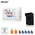 JERUAN 7 inch video doorbell intercom system door phone speaker intercom outdoor inductive card & touch panle