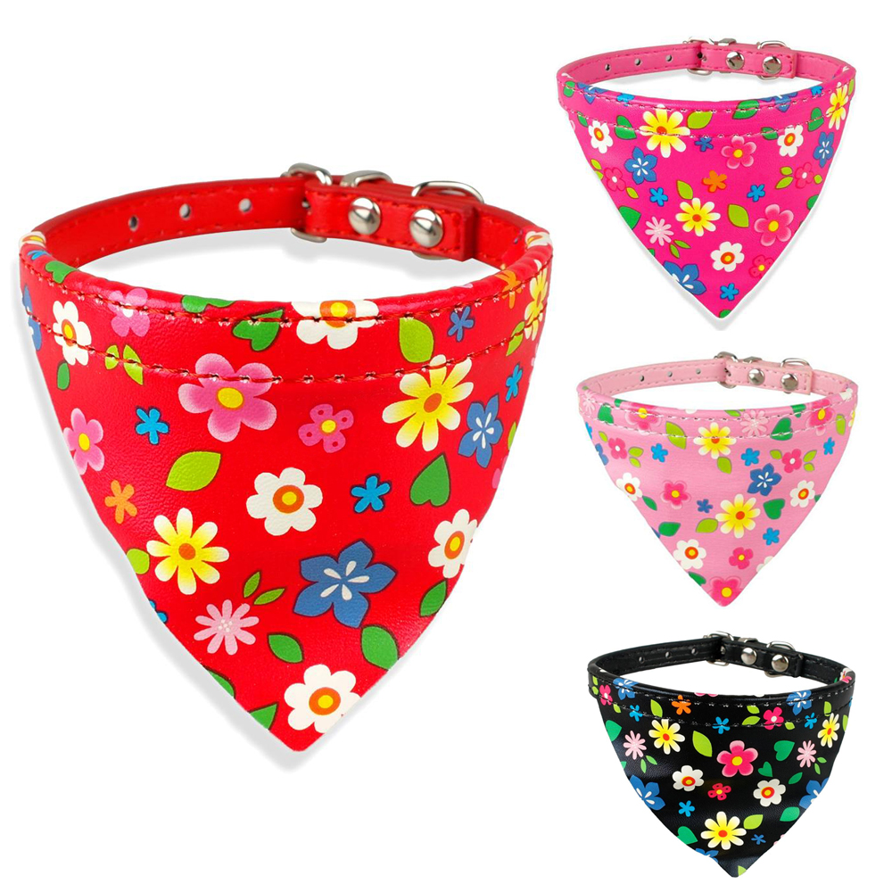 Online get cheap red bandana dog collar aliexpress alibaba adjustable dog collar designer sun flower print leather bandana puppies scarf bib collars for small medium dogs pink red black dhlflorist Choice Image