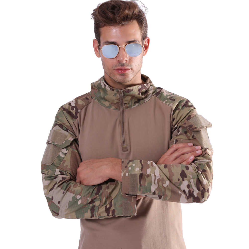 T-shirt Dos Homens Camuflagem Do Exército Camisetas Homens Camisetas Soldados de Combate Tático Camiseta Militar Multicam Camo de Manga Longa de Algodão Mulheres