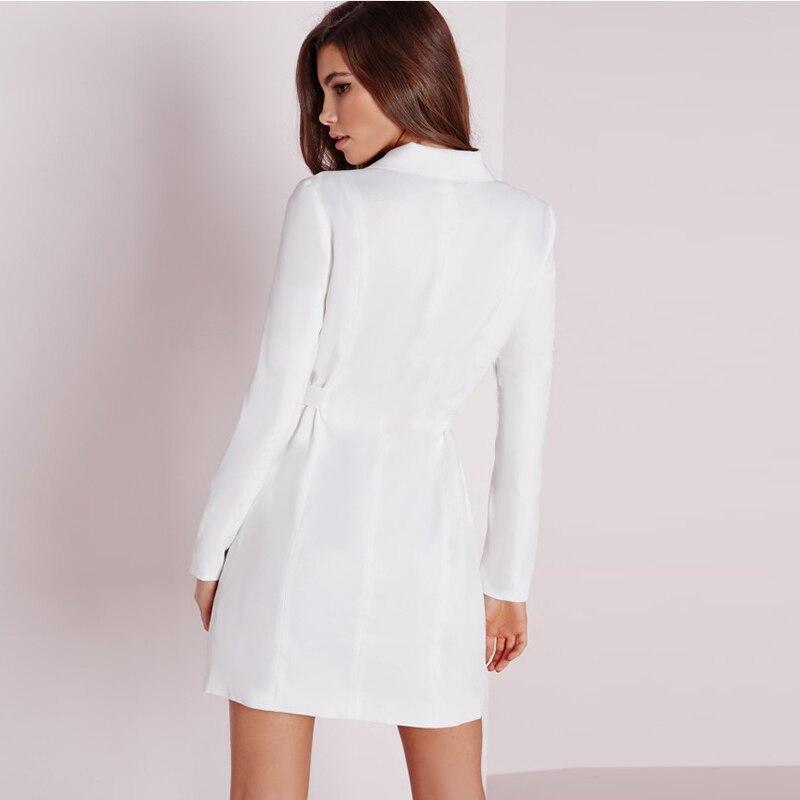 Fashion Y Business Work Women Suit Dress V Neck White Color Office Las Dresses Plus Size 2xl Vestido De Festa Winter In From S