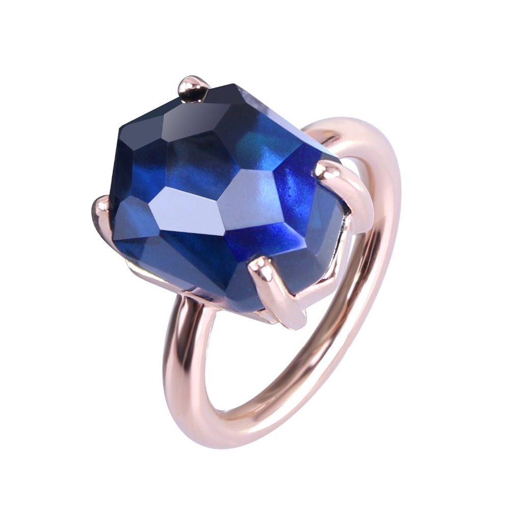 2017 New Fashion And Funny Of Irregular Geometric Interface Royal Blue  Crystal Rose Gold Plated Ring