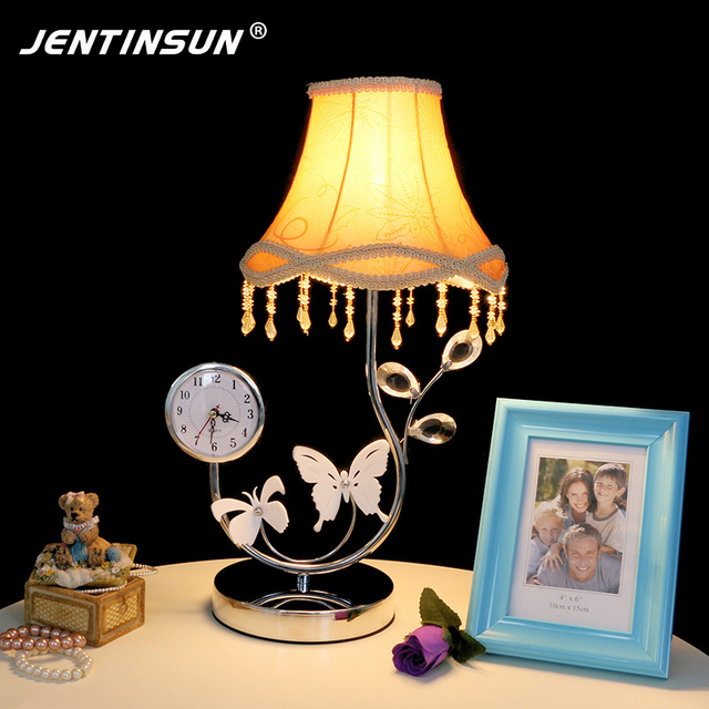 Luxury Crystal Table Lamp Acrylic Clock Butterfly Decoration Dimmer Remote  Control Desk Lamps Reading Light For