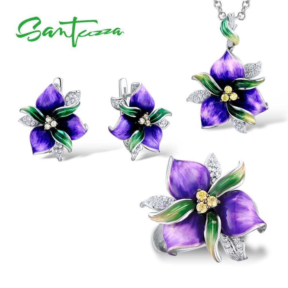 SANTUZZA Jewelry Set For Women 925 Sterling Silver Purple Flower CZ Stones Ring Earrings Pendent Fashion Jewelry HANDMADE Enamel