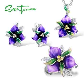 SANTUZZA Jewelry Set For Women 925 Sterling Silver Purple Flower CZ Stones Ring Earrings Pendent Fashion Jewelry HANDMADE Enamel - DISCOUNT ITEM  49% OFF All Category