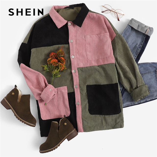 SHEIN Multicolor Casual Colorblock Cut And Sew Single Breasted Pocket Front Corduroy Jacket Autumn Leisure Women Coat Outerwear 8